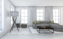 3d rendering white beautiful living room with nice furniture Stock Photo
