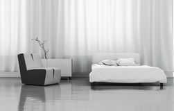 3D Rendering White Bedroom stock illustration