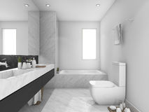 3d rendering white and black marble toilet and bathroom Royalty Free Stock Images