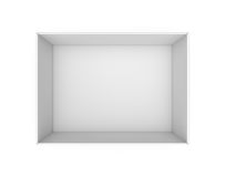 3d rendering of a white blank rectangle box without a lid as seen from above. Stock Photos