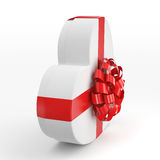 3D rendering White box heart. 3D rendering White box with heart shaped red ribbon Stock Image