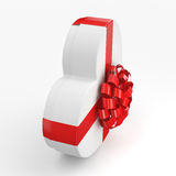 3D rendering White box heart. 3D rendering White box with heart shaped red ribbon Stock Photo