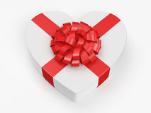 3D rendering White box heart. 3D rendering White box with heart shaped red ribbon Royalty Free Stock Photos
