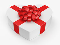 3D rendering White box heart. 3D rendering White box with heart shaped red ribbon Royalty Free Stock Photography