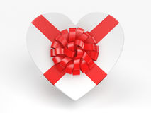 3D rendering White box heart. 3D rendering White box with heart shaped red ribbon Stock Photography
