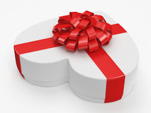 3D rendering White box heart. 3D rendering White box with heart shaped red ribbon Royalty Free Stock Images
