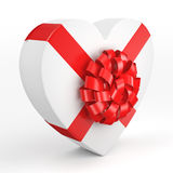 3D rendering White box heart. 3D rendering White box with heart shaped red ribbon Stock Photos