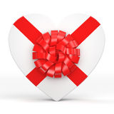 3D rendering White box heart. 3D rendering White box with heart shaped red ribbon Royalty Free Stock Image
