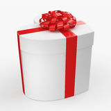 3D rendering White box heart. 3D rendering White box with heart shaped red ribbon Stock Images