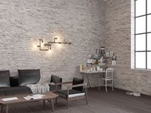 3d rendering of White brick loft living room with working place royalty free stock photo