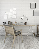 3d rendering white brick wall with loft style working room Royalty Free Stock Photos