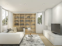 3d rendering white bright style living room with flower carpet Stock Photography