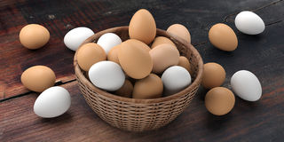 3d rendering white and brown eggs in a basket Royalty Free Stock Image