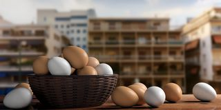 3d rendering white and brown eggs in a basket Stock Image