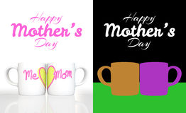 3D rendering white ceramic mug with print word me, mom and a yellow heart on white background Royalty Free Stock Photos