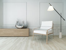 3D Rendering of white chair in a  sunny room with floor lamp. Image of 3D Rendering of white chair in a  sunny room with floor lamp Stock Image