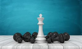 3d rendering of a white chess kind standing surrounded by several fallen black pawns on a wooden desk background. Winner and losers. Strategy game. Domination royalty free illustration