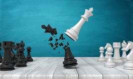 3d rendering of a white chess king flying and crashing a black king near other chess figures on a wooden desk. royalty free illustration