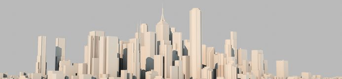 3d rendering of a white city on a bright background. Perspective royalty free illustration