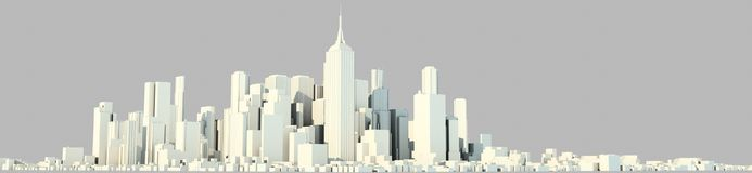 3d rendering of a white city on a bright background. Perspective vector illustration
