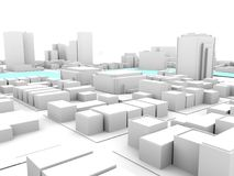 3d white city with crossing river. 3d rendering of white city downtown Stock Images