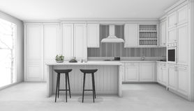 3d rendering white classic kitchen. 3d rendering interior design by 3ds max Royalty Free Stock Images