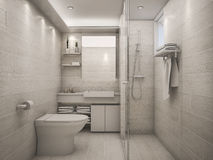 3D Rendering white clean bathroom. 3D Interior rendering by 3ds max Stock Photo