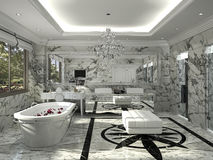 3D Rendering white clean classic bathroom with marble tile. 3D Interior rendering by 3ds max Royalty Free Stock Images