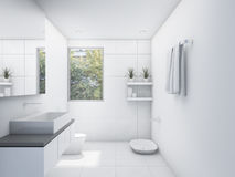 3D rendering white clean restroom with nature view Stock Photos