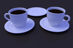 3D rendering of white coffee cups with saucer. On a table with a dark reflective surface Royalty Free Stock Photos