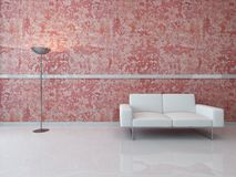 A 3D Rendering of white couch against red wall Stock Photo