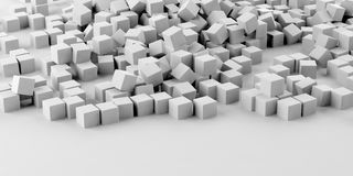 3d rendering white cubes and background. 3d rendering white cubes on white background stock illustration