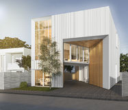 3d rendering white cubic house with modern design Stock Images
