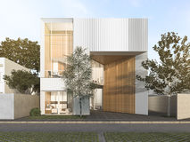 3d rendering white cubic house with modern design. 3d rendering interior design by 3ds max Stock Image
