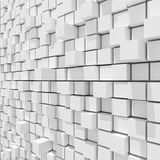 3d rendering of white cubic random level background. Royalty Free Stock Image