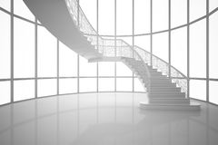 3D Rendering white curved staircase in a house, interior  Stock Photos
