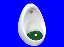 3D rendering a white design ceramic urinals with a soccer ball. Stock Photos