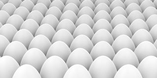 3d rendering white eggs background Royalty Free Stock Photos