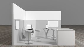 3d rendering of a white exhibition stand with light for different uses. And screens royalty free stock image