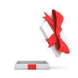 3d rendering of a white flat gift box with a red bow on white background with opened lid hanging high above. Special offer. Gifts and promotions. Empty box Royalty Free Stock Photos