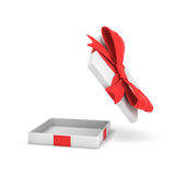 3d rendering of a white flat gift box with a red bow on white background with opened lid hanging high above. Special offer. Gifts and promotions. Empty box Stock Photo