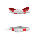3d rendering of a white flat gift box with a red bow on white background with opened lid hanging high above. Special offer. Gifts and promotions. Empty box Stock Photos