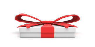 3d rendering of white flat gift box with a red ribbon bow isolated on white background Stock Photos