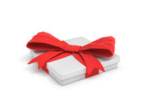 3d rendering of white flat gift box with a red ribbon bow in side top view. Giving presents. Celebration. Promotions and sales Royalty Free Stock Images