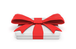 3d rendering of white flat gift box with a red ribbon bow  on white background. Giving presents. Celebration. Promotions and sales Stock Image