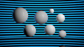 3d rendering of white flying balls blue background. 3d rendering of white flying balls Stock Photo