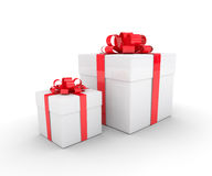 3d rendering of white gift boxes with red ribbon  over w. Hite background Royalty Free Stock Image