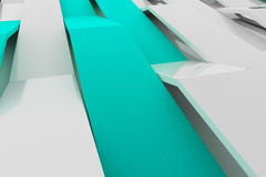 3D rendering of white gloss plastic waves with colored elements Stock Image