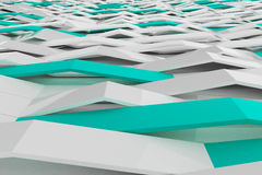 3D rendering of white gloss plastic waves with colored elements Royalty Free Stock Photo