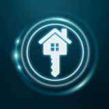 3D rendering white and glowing blue icon house. On blue background Royalty Free Stock Image